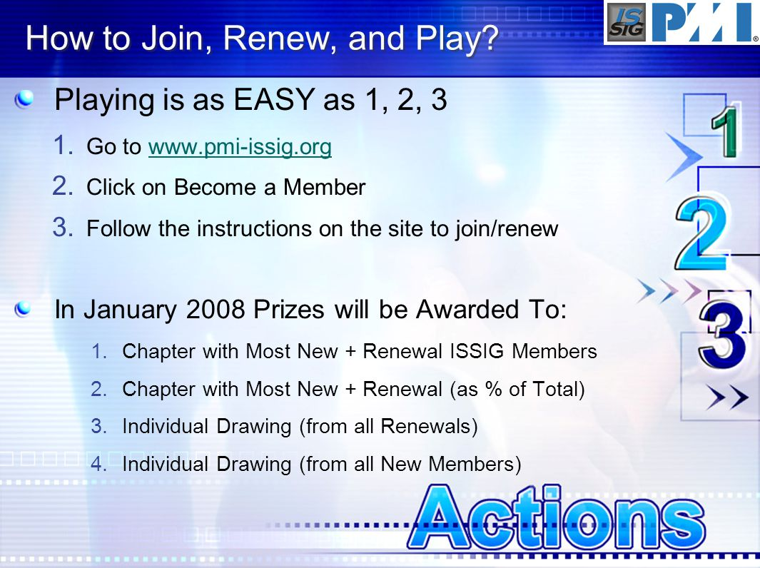 How to Join, Renew, and Play. Playing is as EASY as 1, 2, 3 1.