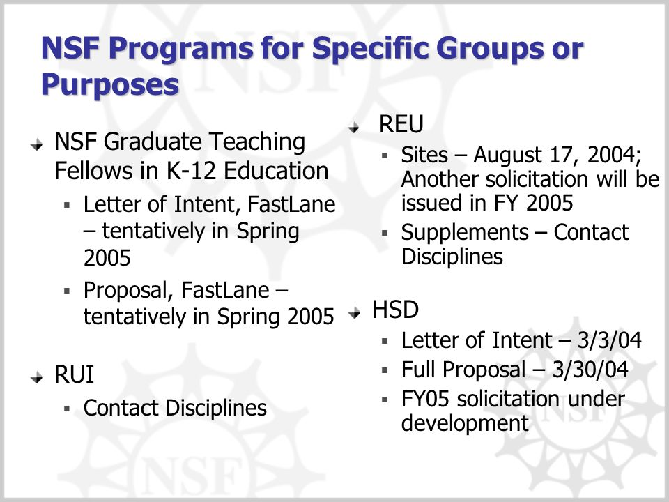 NSF Programs for Specific Groups or Purposes NSF Graduate Teaching Fellows in K-12 Education  Letter of Intent, FastLane – tentatively in Spring 2005  Proposal, FastLane – tentatively in Spring 2005 RUI  Contact Disciplines REU  Sites – August 17, 2004; Another solicitation will be issued in FY 2005  Supplements – Contact Disciplines HSD  Letter of Intent – 3/3/04  Full Proposal – 3/30/04  FY05 solicitation under development