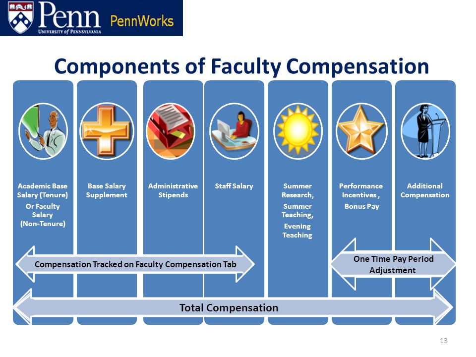 13 Total Compensation Compensation Tracked on Faculty Compensation Tab One Time Pay Period Adjustment Components of Faculty Compensation
