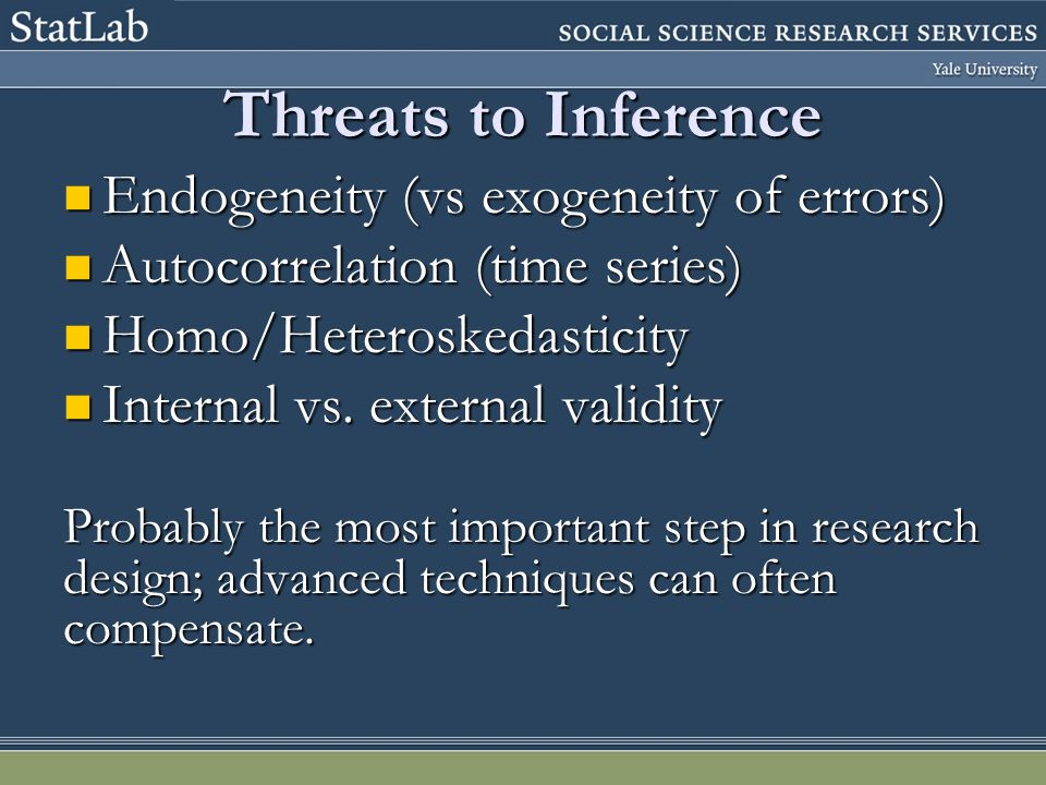 Robustness Identify Threats to Inference! (Do I have any?)