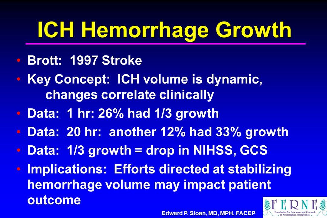 ICH Hemorrhage Growth Brott: 1997 Stroke Key Concept: ICH volume is dynamic, changes correlate clinically Data: 1 hr: 26% had 1/3 growth Data: 20 hr: