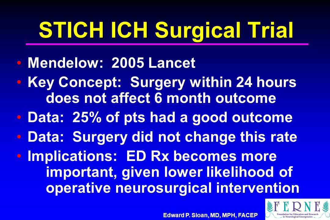 STICH ICH Surgical Trial Mendelow: 2005 Lancet Key Concept: Surgery within 24 hours does not affect 6 month outcome Data: 25% of pts had a good outcom