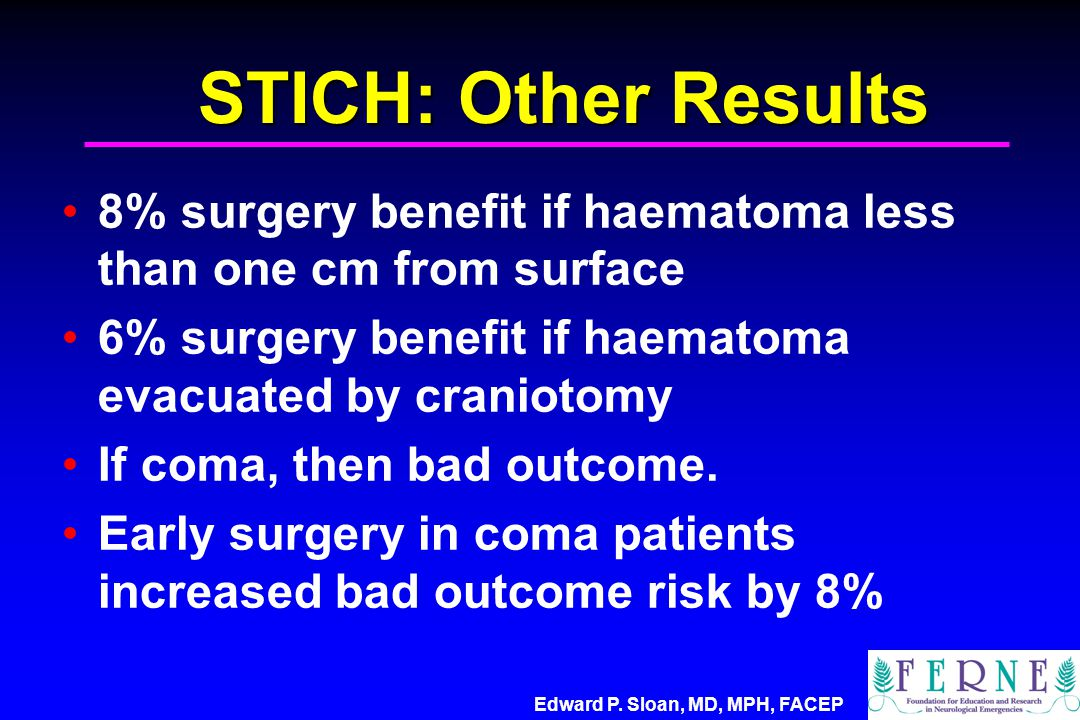 Edward P. Sloan, MD, MPH, FACEP STICH: Other Results 8% surgery benefit if haematoma less than one cm from surface 6% surgery benefit if haematoma eva