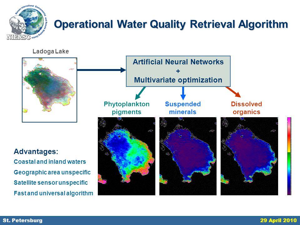 18 September 2006, St. Petersburg Artificial Neural Networks + Multivariate optimization Phytoplankton pigments Suspended minerals Dissolved organics