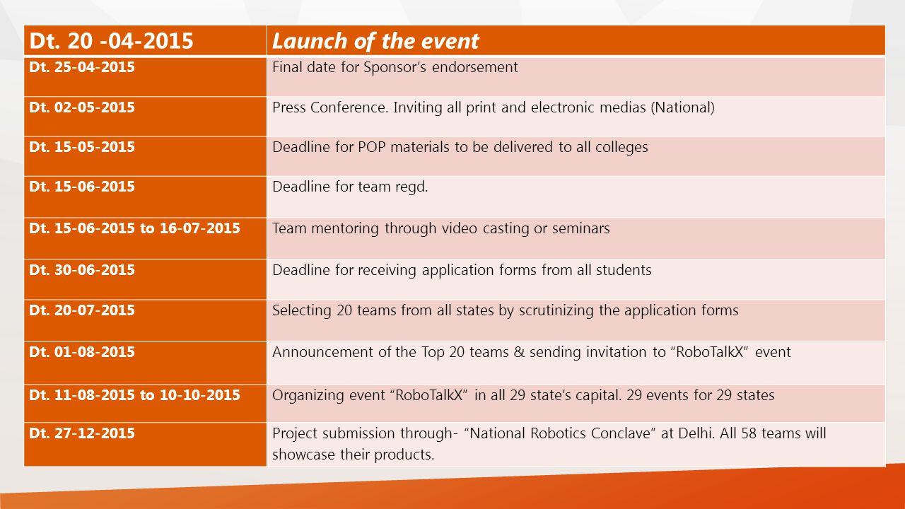 Dt.20 -04-2015Launch of the event Dt. 25-04-2015Final date for Sponsor's endorsement Dt.