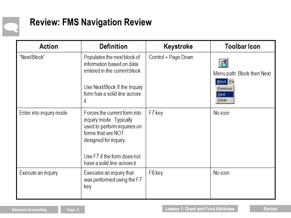 Research Accounting Page: 7 Review: FMS Navigation Review (cont.)  ActionDefinitionKeystrokeToolbar Icon WildcardUsed in combination with partial data when performing inquiries.