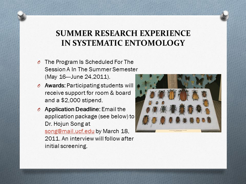 SUMMER RESEARCH EXPERIENCE IN SYSTEMATIC ENTOMOLOGY O The Program Is Scheduled For The Session A In The Summer Semester (May 16-- ‐ June 24,2011).