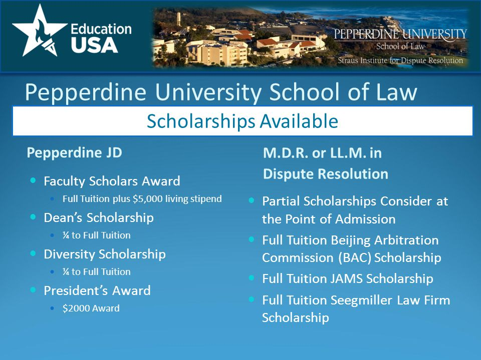 Pepperdine University School of Law Pepperdine JD M.D.R.