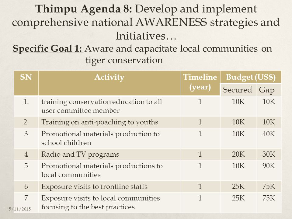 Thimpu Agenda 8: Develop and implement comprehensive national AWARENESS strategies and Initiatives… SNActivityTimeline (year) Budget (US$) SecuredGap