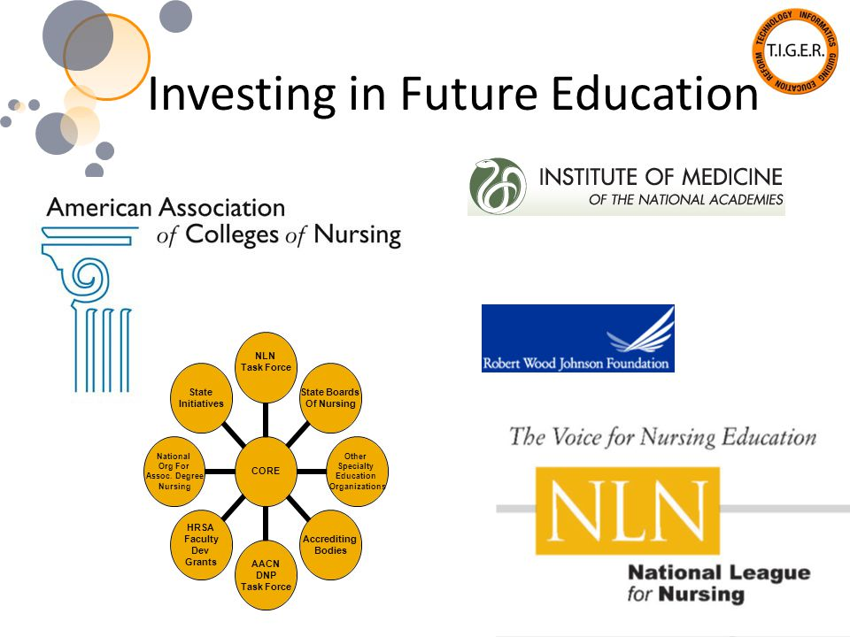 Investing in Future Education CORE NLN Task Force State Boards Of Nursing Other Specialty Education Organizations Accrediting Bodies AACN DNP Task For