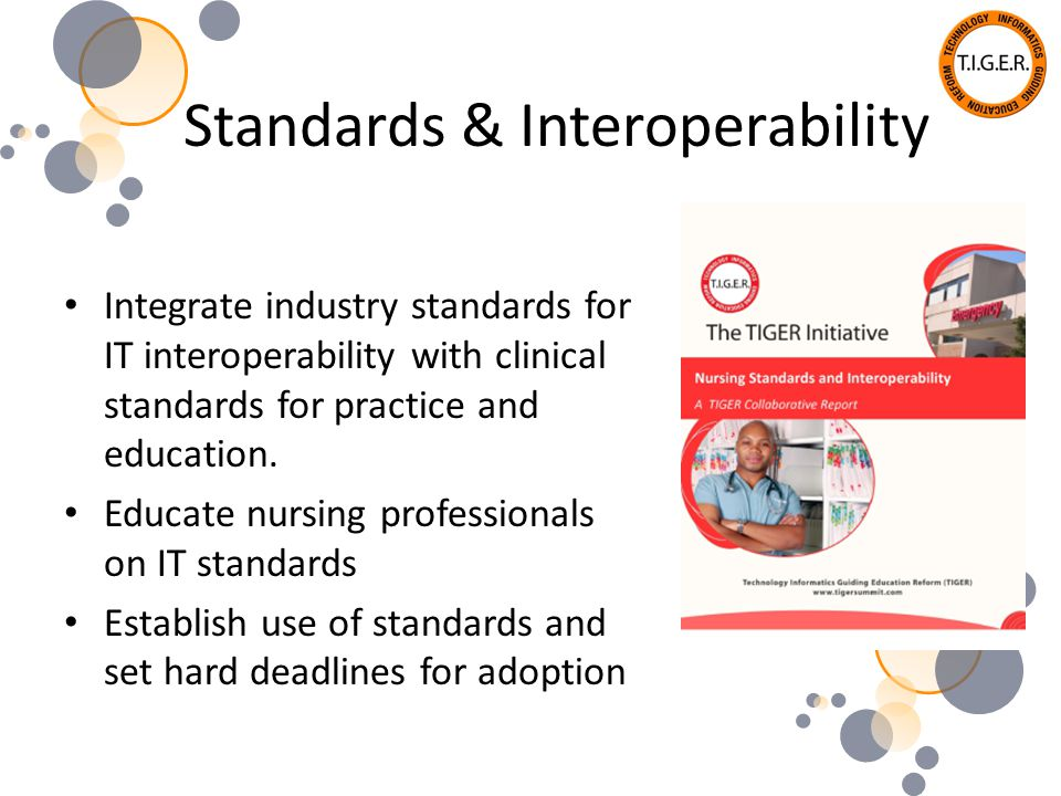 Standards & Interoperability Integrate industry standards for IT interoperability with clinical standards for practice and education.