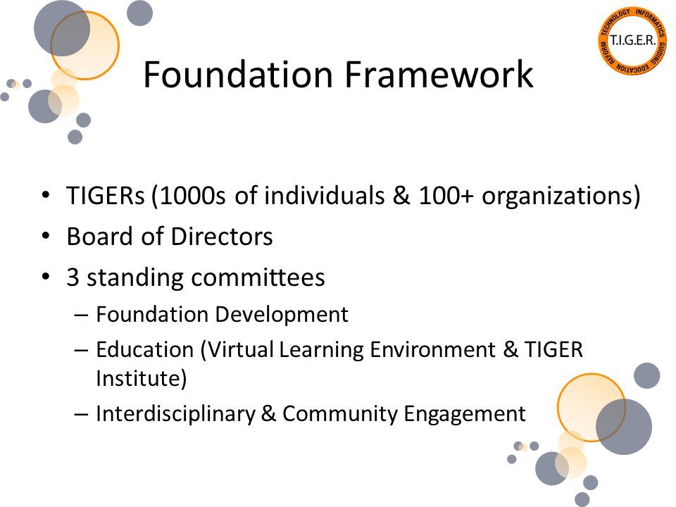 Foundation Framework TIGERs (1000s of individuals & 100+ organizations) Board of Directors 3 standing committees – Foundation Development – Education (Virtual Learning Environment & TIGER Institute) – Interdisciplinary & Community Engagement