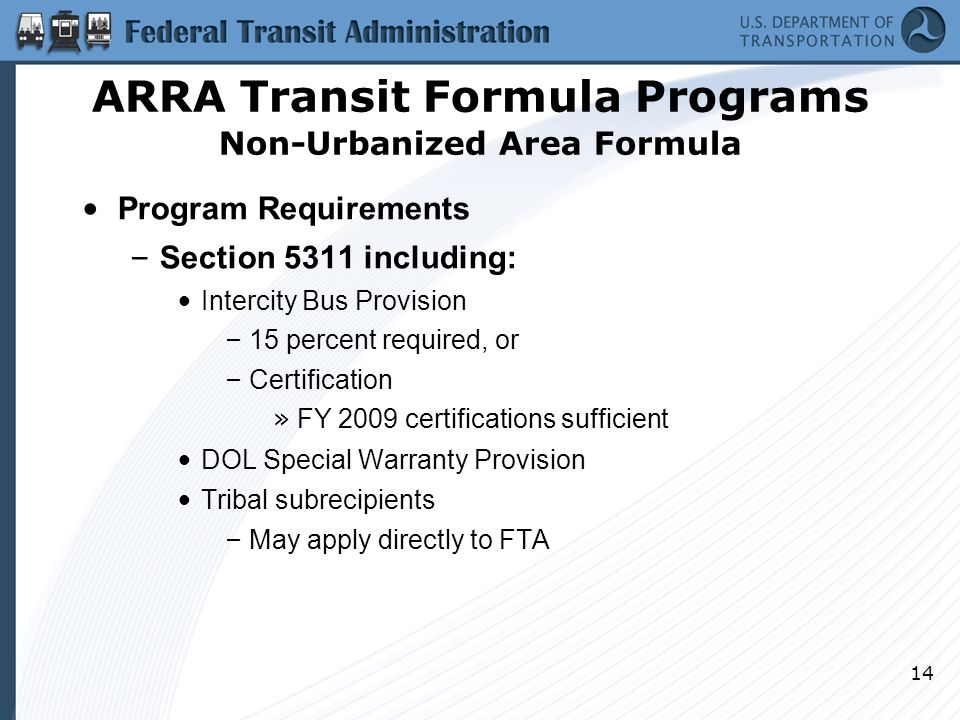 14 Program Requirements – Section 5311 including: Intercity Bus Provision – 15 percent required, or – Certification » FY 2009 certifications sufficien