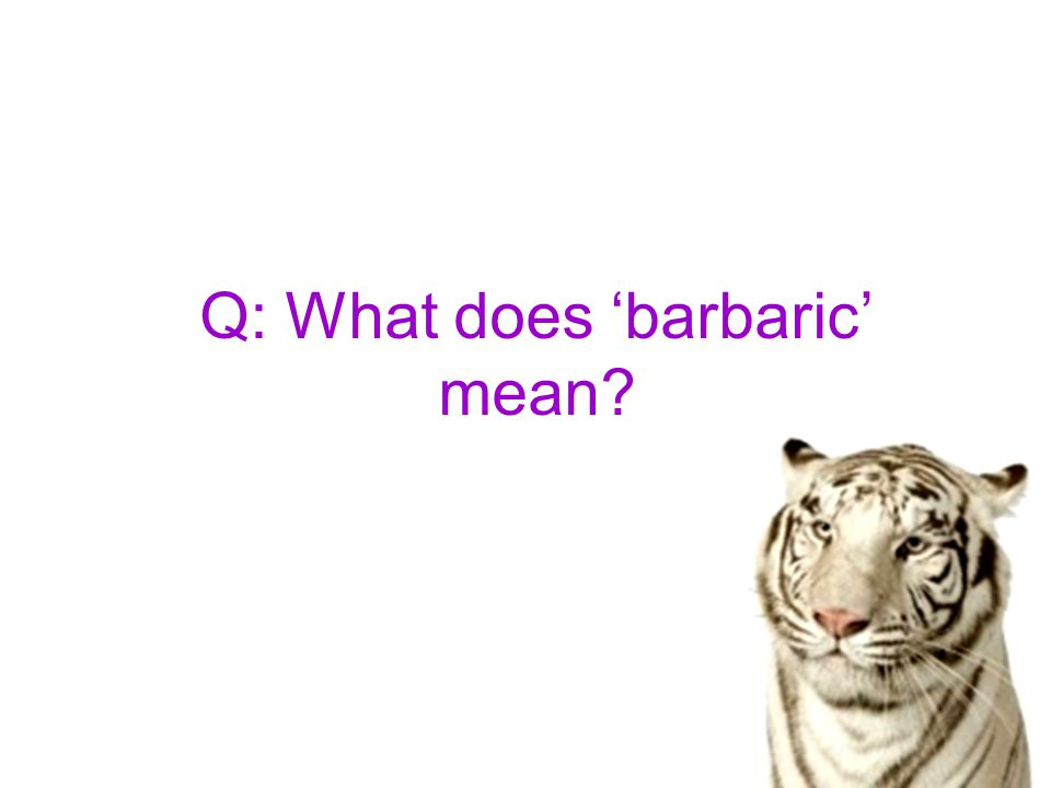 Q: What does 'barbaric' mean?