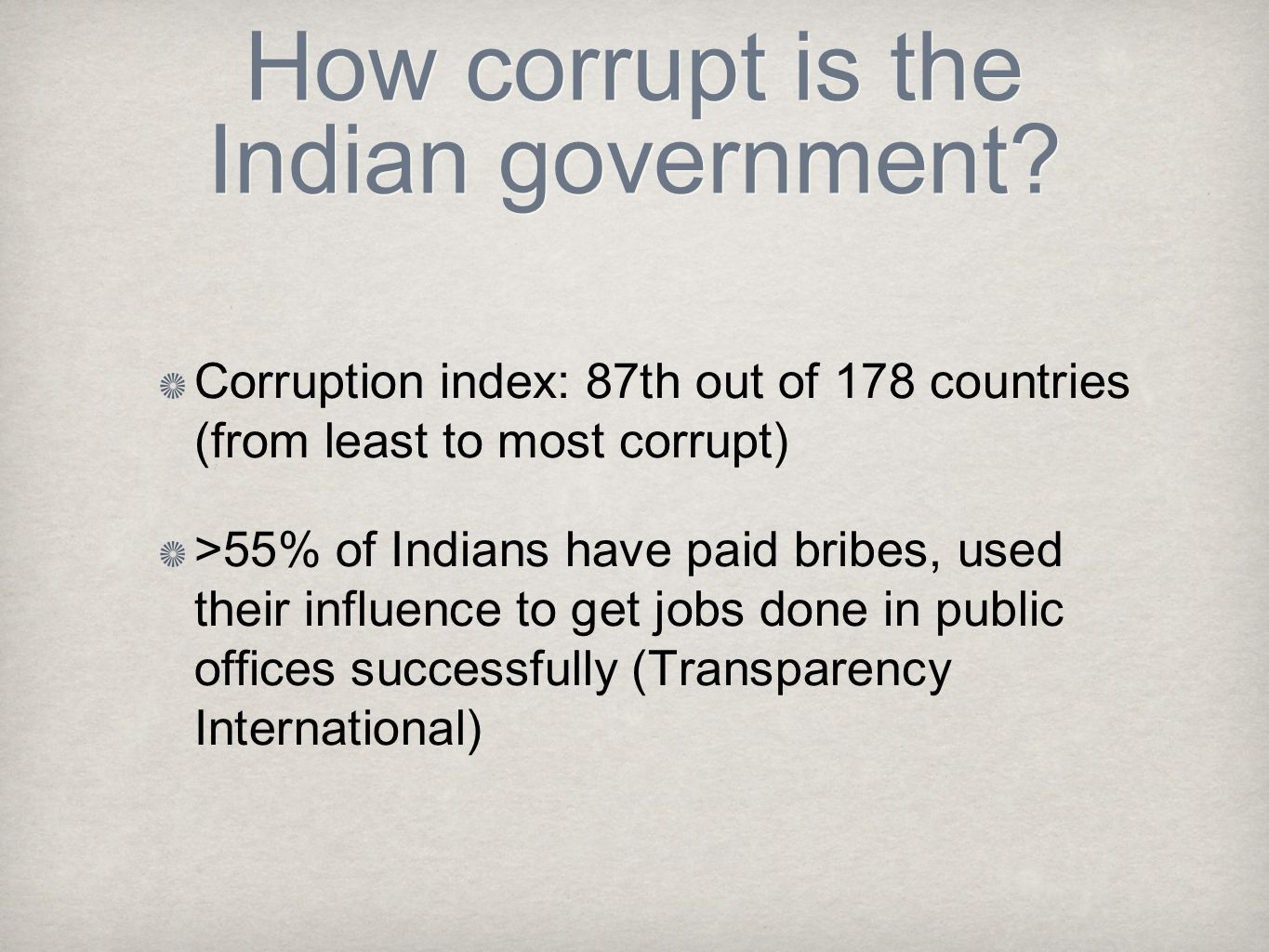 How corrupt is the Indian government.