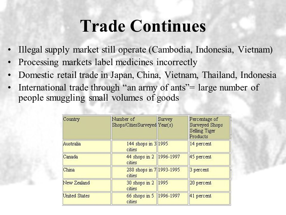 Progress in Tiger Trade Supply –More seizures of goods –Prices are lower –Major supplying markets disappeared Processing –Manufacture has stopped in m