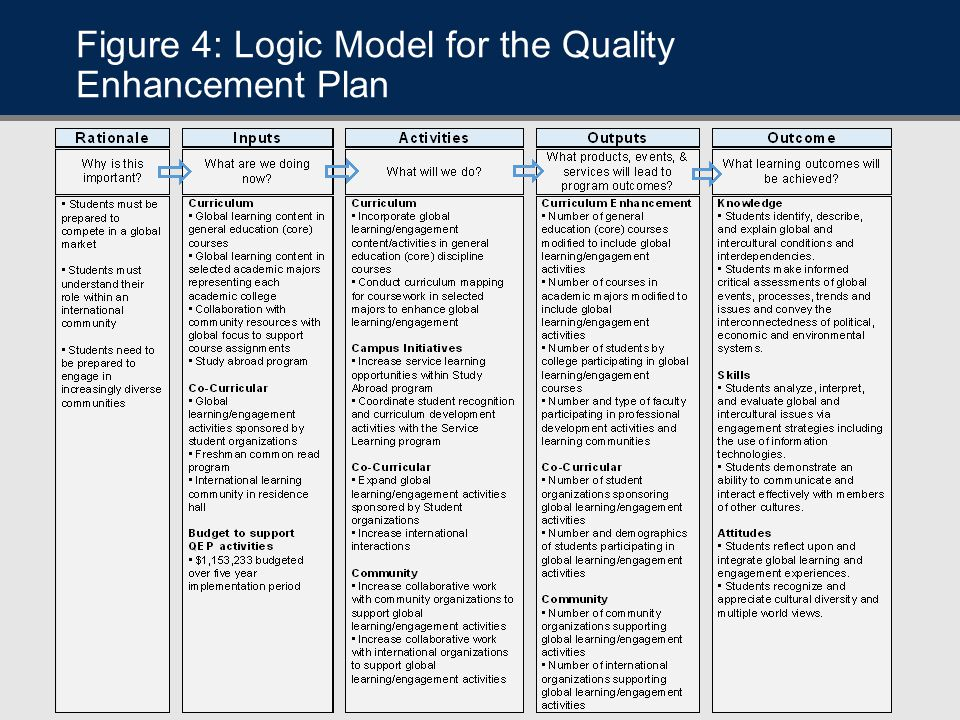 Figure 4: Logic Model for the Quality Enhancement Plan