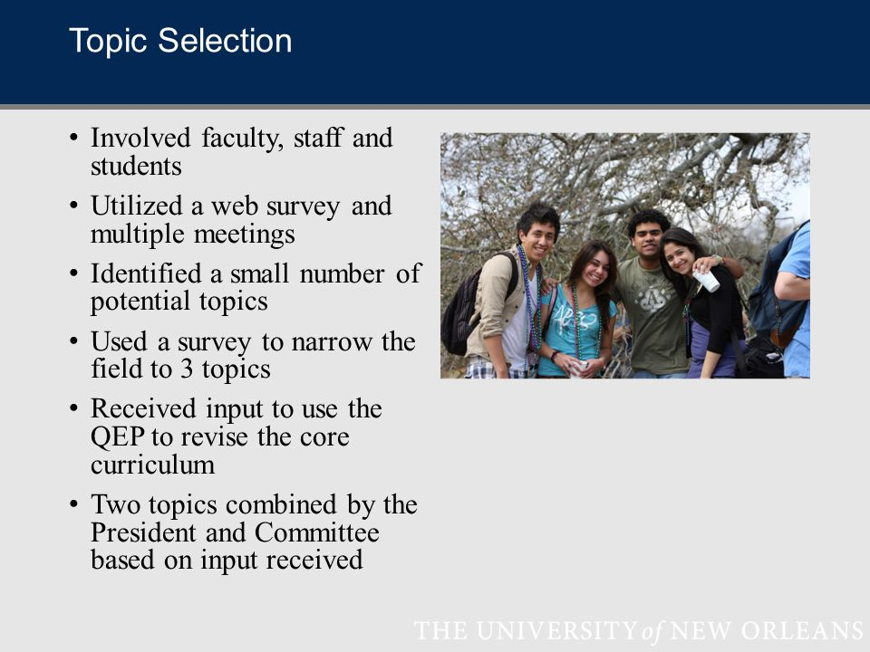 Topic Selection Involved faculty, staff and students Utilized a web survey and multiple meetings Identified a small number of potential topics Used a