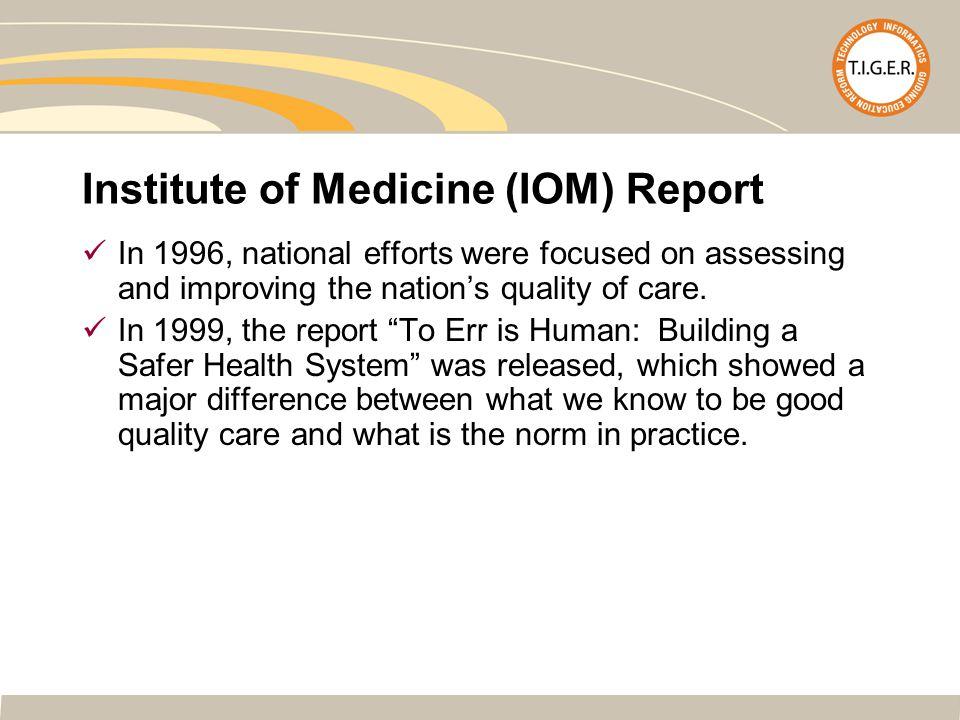 References - websites http://www.wikipedia.org.http://www.wikipedia.org IOM Report – To Err Is Human: Building a Safer Health System Nov.