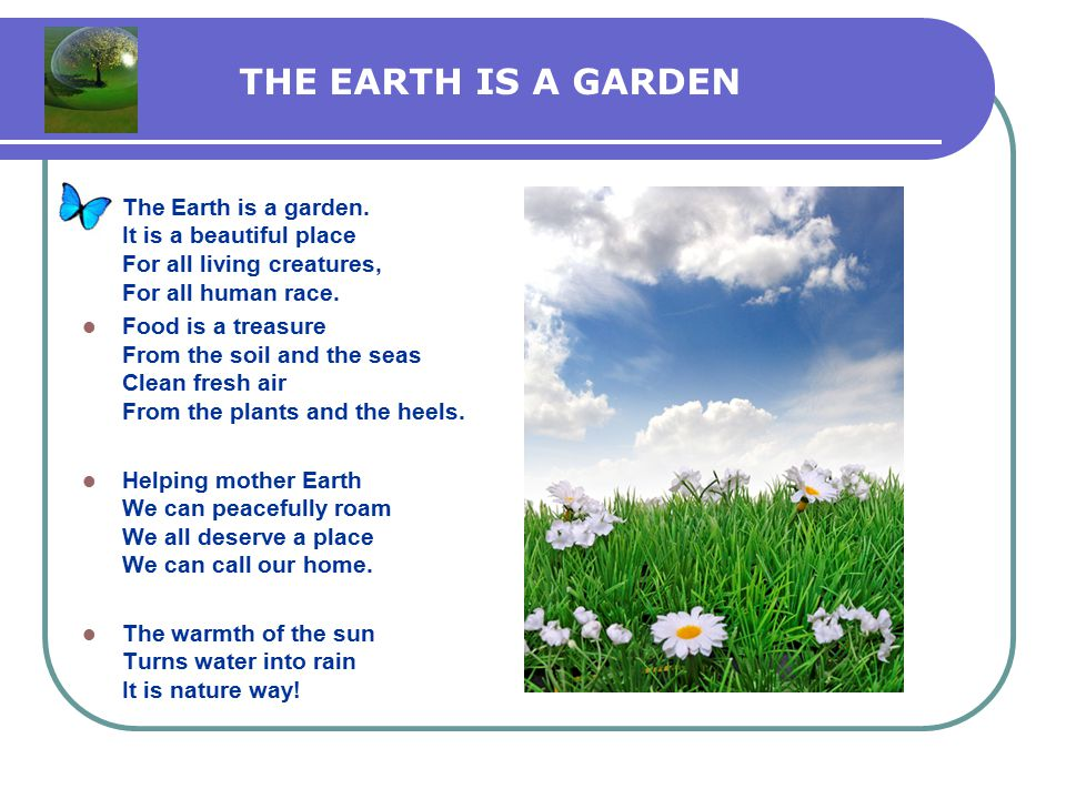 THE EARTH IS A GARDEN The Earth is a garden.