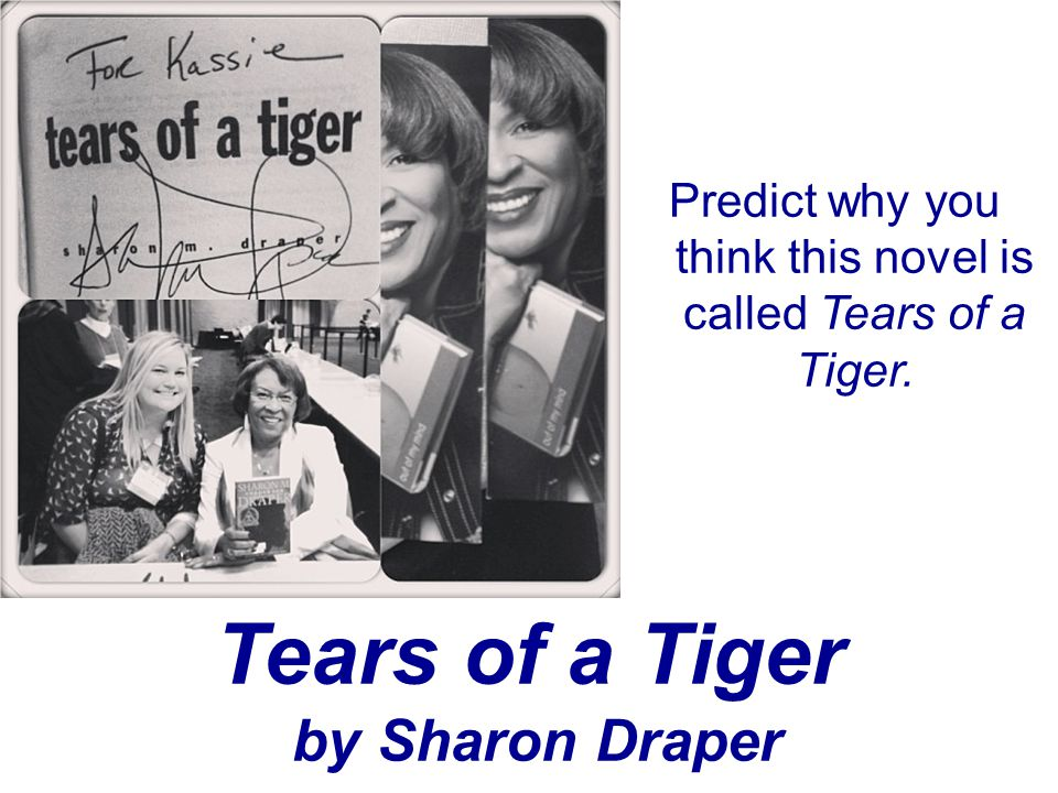 Tears of a Tiger by Sharon Draper Predict why you think this novel is called Tears of a Tiger.