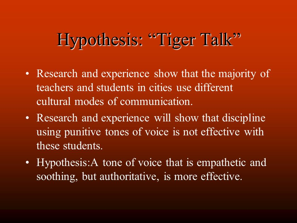 Hypothesis: Tiger Talk Research and experience show that the majority of teachers and students in cities use different cultural modes of communication.