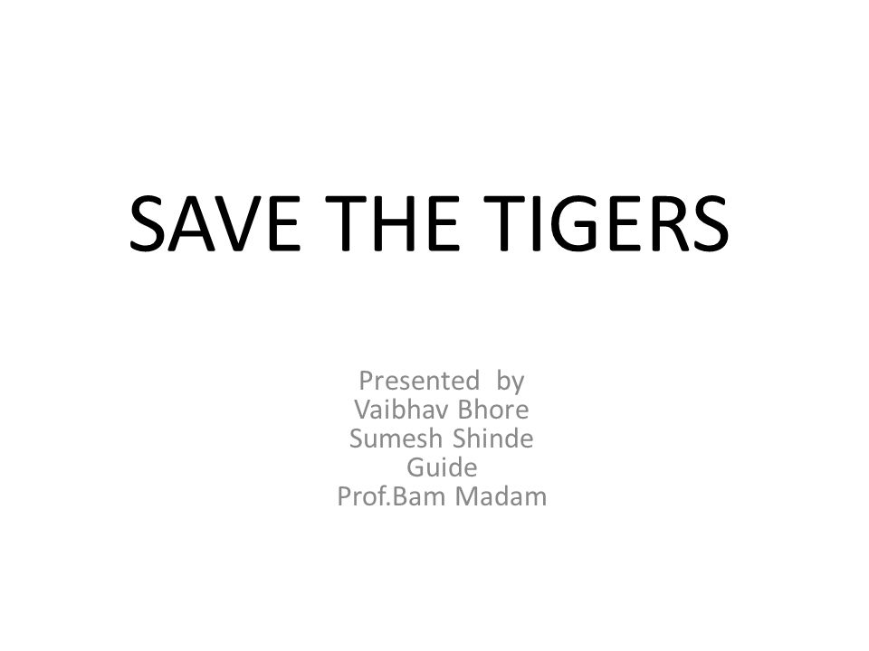 SAVE THE TIGERS Presented by Vaibhav Bhore Sumesh Shinde Guide Prof.Bam Madam