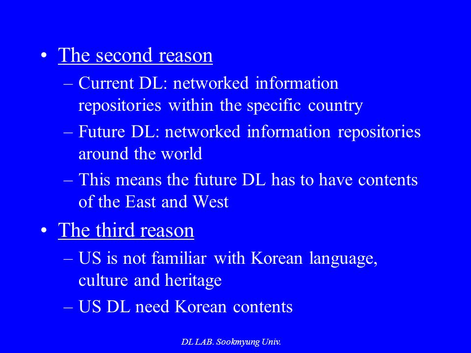 DL LAB. Sookmyung Univ. The second reason –Current DL: networked information repositories within the specific country –Future DL: networked informatio