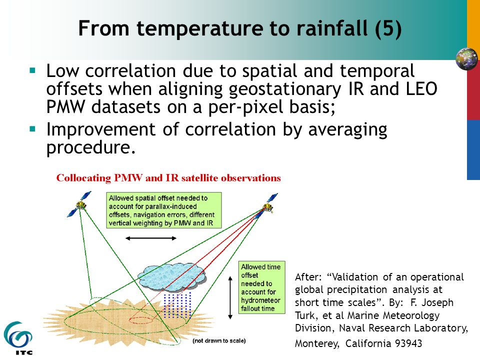  Low correlation due to spatial and temporal offsets when aligning geostationary IR and LEO PMW datasets on a per-pixel basis;  Improvement of correlation by averaging procedure.