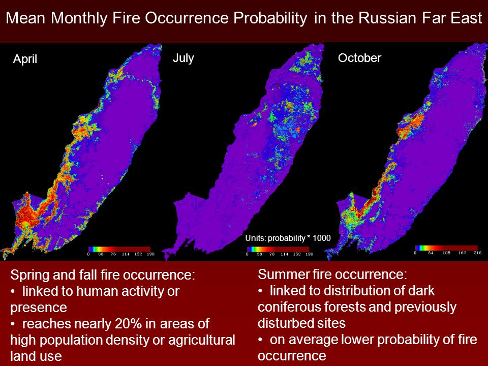 Mean Monthly Fire Occurrence Probability in the Russian Far East April July October Units: probability * 1000 Spring and fall fire occurrence: linked to human activity or presence reaches nearly 20% in areas of high population density or agricultural land use Summer fire occurrence: linked to distribution of dark coniferous forests and previously disturbed sites on average lower probability of fire occurrence