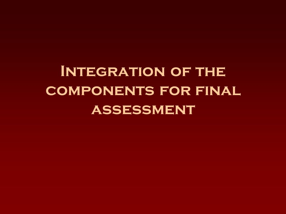 Integration of the components for final assessment