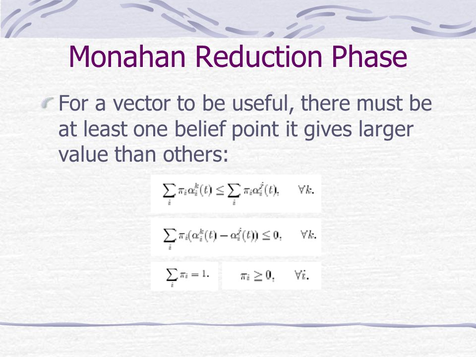 Monahan Reduction Phase For a vector to be useful, there must be at least one belief point it gives larger value than others: