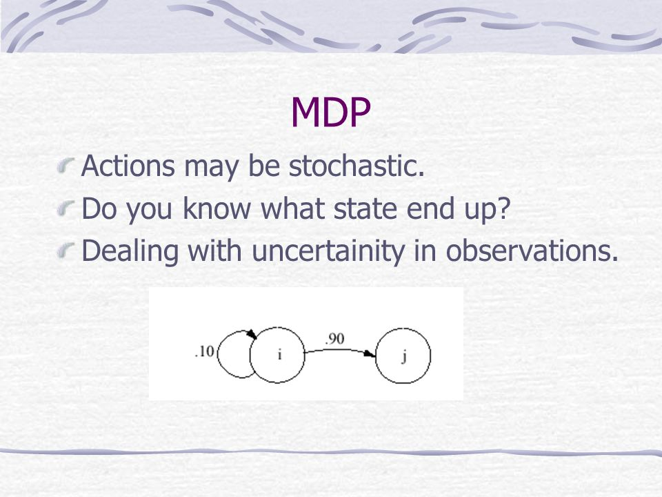 MDP Actions may be stochastic. Do you know what state end up.