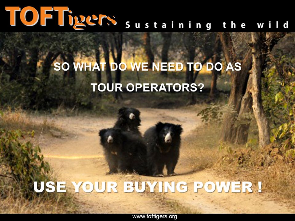 SO WHAT DO WE NEED TO DO AS TOUR OPERATORS USE YOUR BUYING POWER !