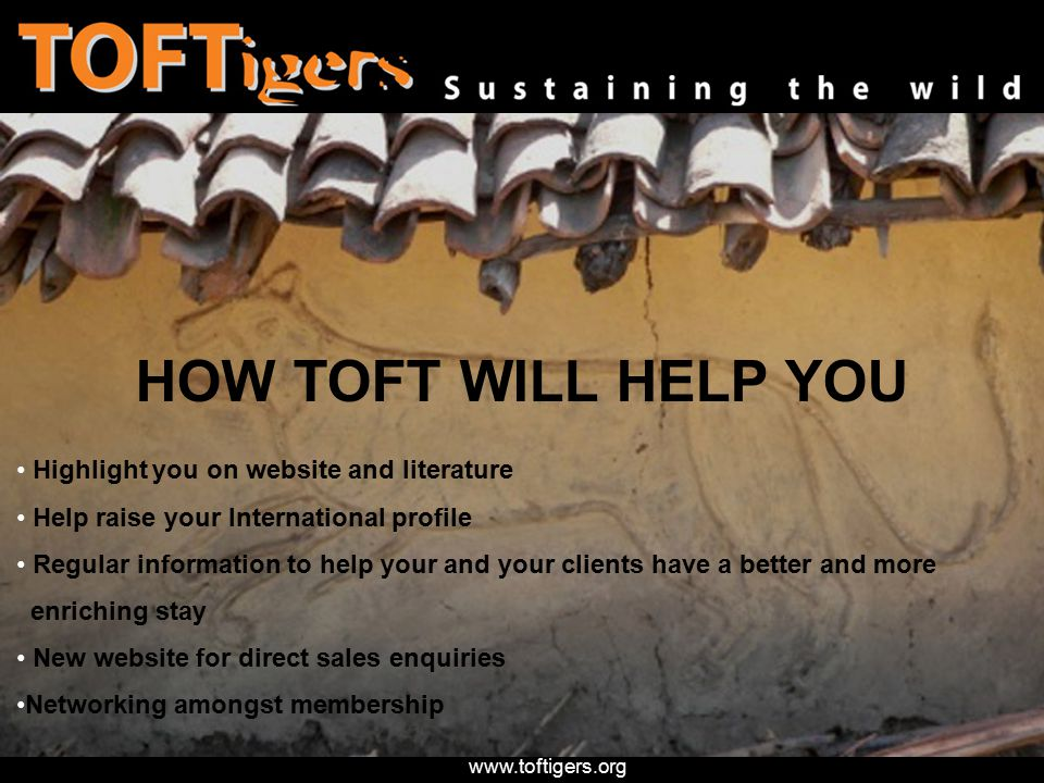 www.toftigers.org HOW TOFT WILL HELP YOU Highlight you on website and literature Help raise your International profile Regular information to help your and your clients have a better and more enriching stay New website for direct sales enquiries Networking amongst membership