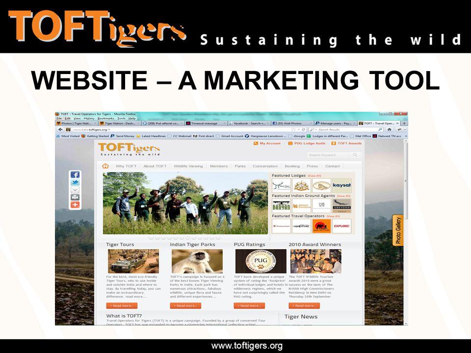 www.toftigers.org WEBSITE – A MARKETING TOOL