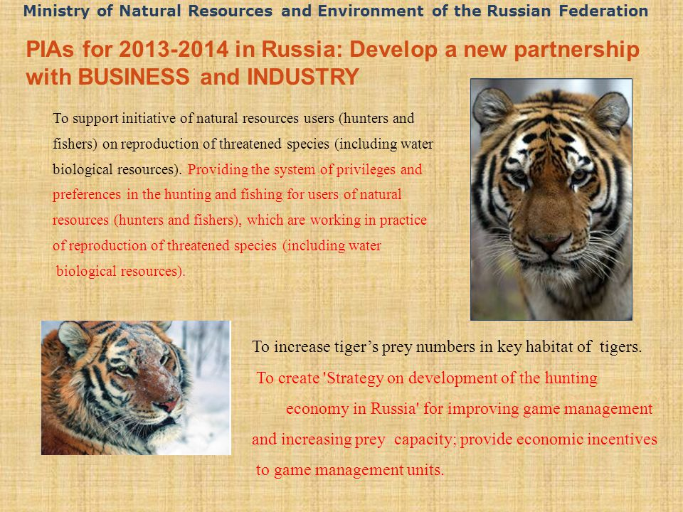 PIAs for 2013-2014 in Russia: Develop a new partnership with BUSINESS and INDUSTRY To support initiative of natural resources users (hunters and fishers) on reproduction of threatened species (including water biological resources).