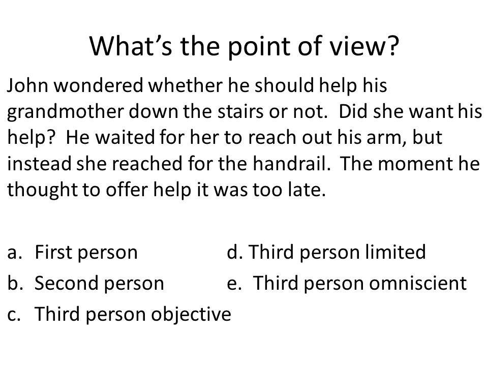 What's the point of view? John wondered whether he should help his grandmother down the stairs or not. Did she want his help? He waited for her to rea