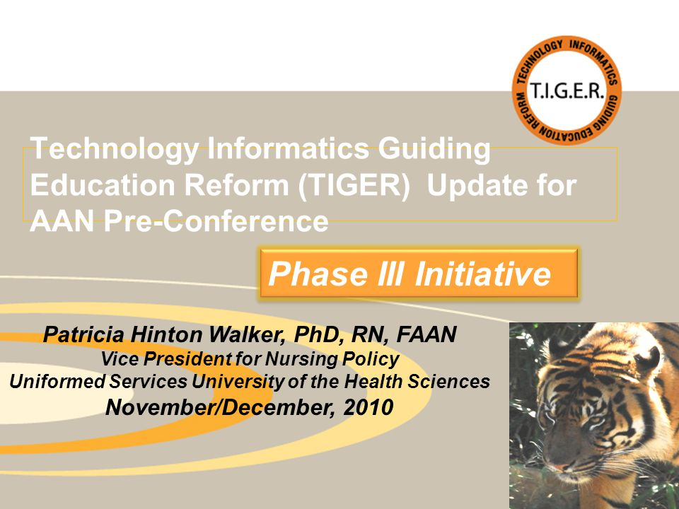 Technology Informatics Guiding Education Reform (TIGER) Update for AAN Pre-Conference Phase III Initiative Patricia Hinton Walker, PhD, RN, FAAN Vice President for Nursing Policy Uniformed Services University of the Health Sciences November/December, 2010