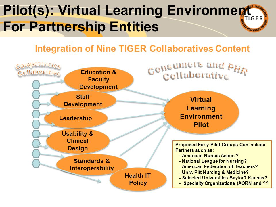 Pilot(s): Virtual Learning Environment For Partnership Entities Education & Faculty Development Staff Development Usability & Clinical Design Standards & Interoperability Virtual Learning Environment Pilot Virtual Learning Environment Pilot Leadership Health IT Policy Proposed Early Pilot Groups Can Include Partners such as: - American Nurses Assoc..