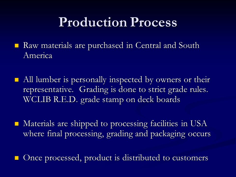 Production Process Raw materials are purchased in Central and South America Raw materials are purchased in Central and South America All lumber is per