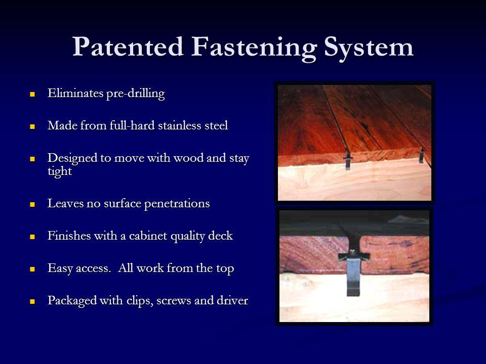 Patented Fastening System Eliminates pre-drilling Eliminates pre-drilling Made from full-hard stainless steel Made from full-hard stainless steel Desi