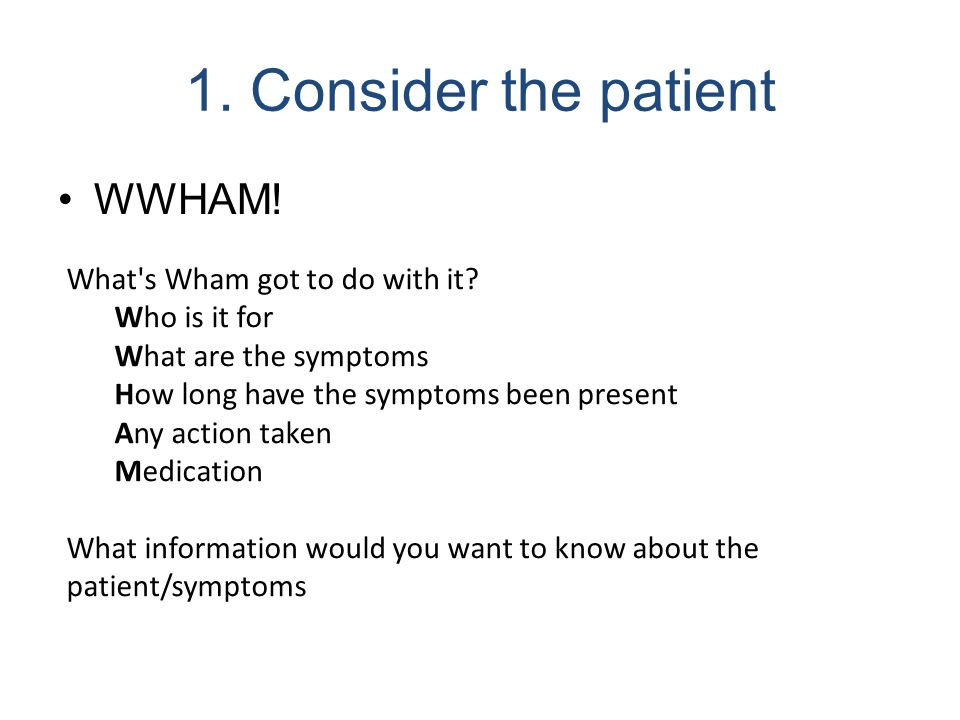 1. Consider the patient WWHAM! What's Wham got to do with it? Who is it for What are the symptoms How long have the symptoms been present Any action t