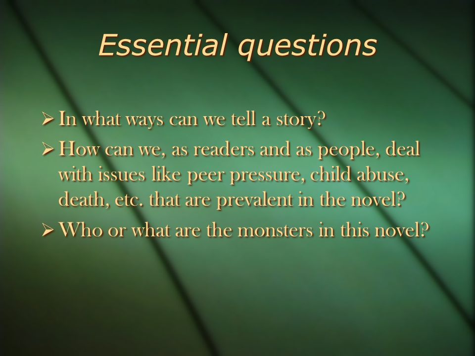 Essential questions  In what ways can we tell a story.