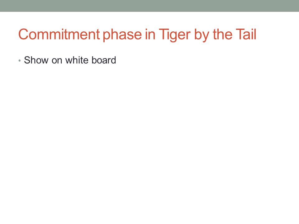 Commitment phase in Tiger by the Tail Show on white board
