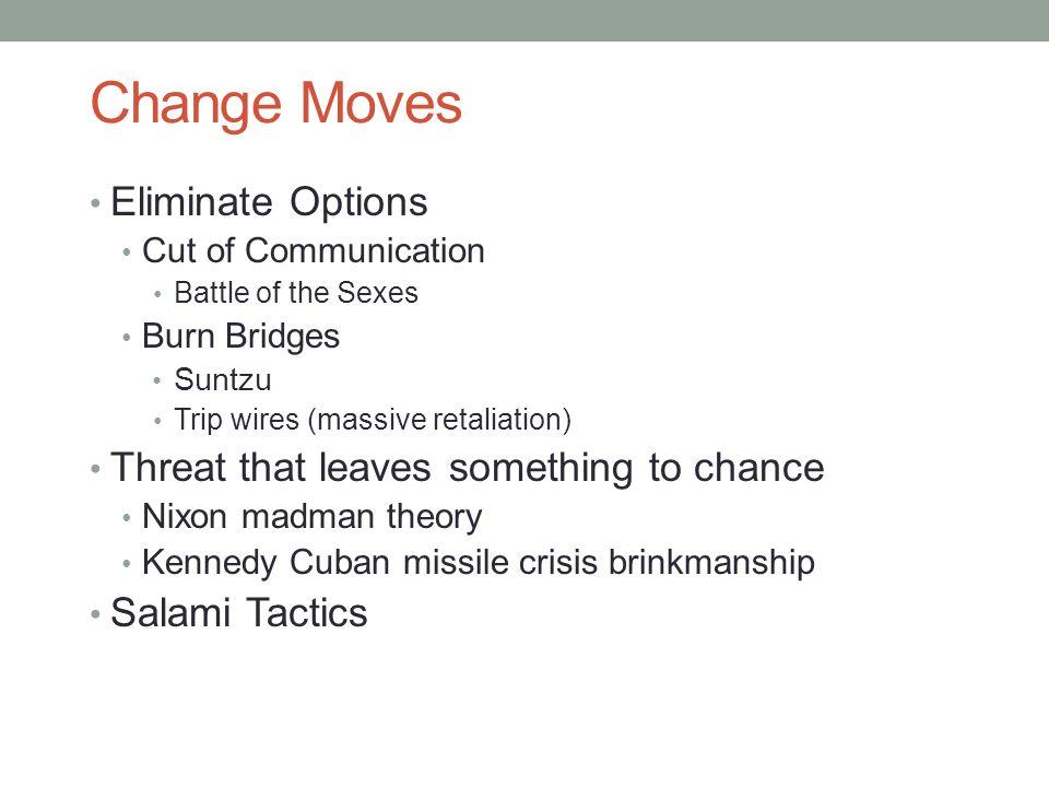 Change Moves Eliminate Options Cut of Communication Battle of the Sexes Burn Bridges Suntzu Trip wires (massive retaliation) Threat that leaves someth