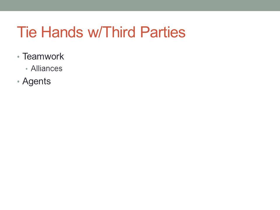 Tie Hands w/Third Parties Teamwork Alliances Agents