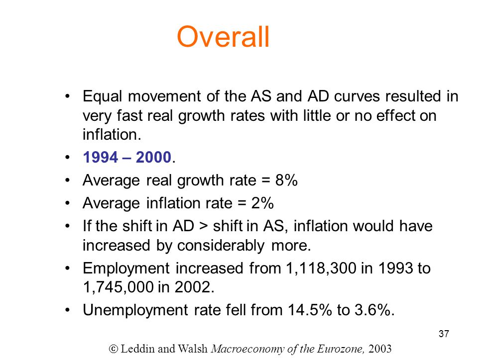 37 Overall Equal movement of the AS and AD curves resulted in very fast real growth rates with little or no effect on inflation.