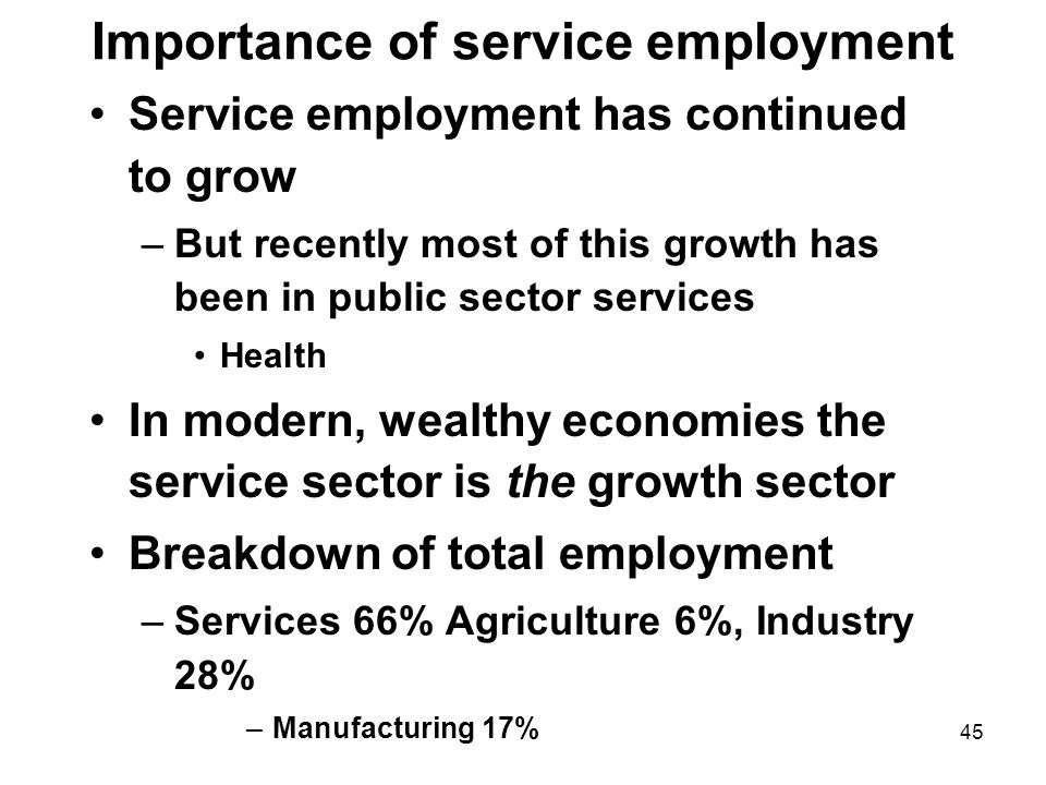 45 Importance of service employment Service employment has continued to grow –But recently most of this growth has been in public sector services Health In modern, wealthy economies the service sector is the growth sector Breakdown of total employment –Services 66% Agriculture 6%, Industry 28% –Manufacturing 17%