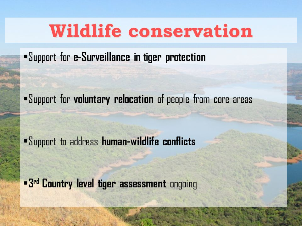Wildlife conservation Support for e-Surveillance in tiger protection Support for voluntary relocation of people from core areas Support to address human-wildlife conflicts 3 rd Country level tiger assessment ongoing